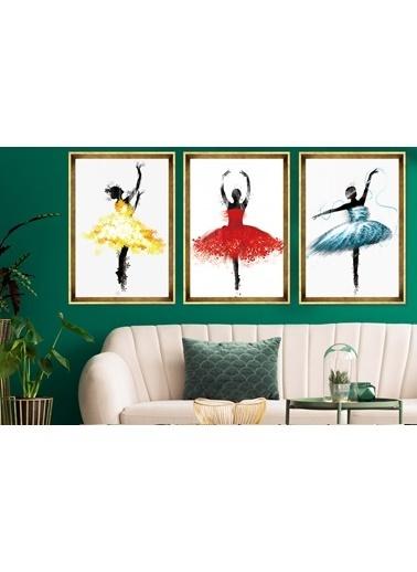 Çerçeve Home  Ballerina Girls Gold Çerçeve Tablo Seti Altın